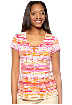 Ruby Rd High Voltage Embellished Short Sleeve Strip Knit