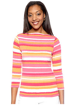 Ruby Rd High Voltage Ballet Neck Stripe Top