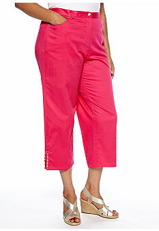 Ruby Rd Plus Size High Voltage Side Elastic Embellished Split Hem Capri