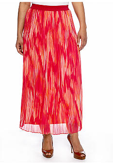 Ruby Rd Plus Size High Voltage Ikat Printed Yoryu Skirt