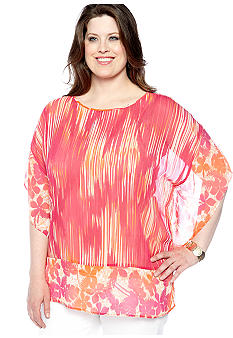 Ruby Rd Plus Size High Voltage Scoop Neck Tropical Print Blouse