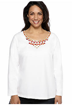 Ruby Rd Plus Size High Voltage Embellished Scoop Neck Knit Top