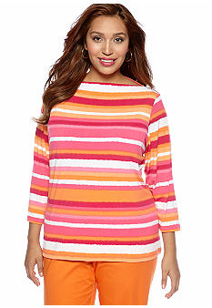 Ruby Rd Plus Size High Voltage Ballet Neck Stripe Top