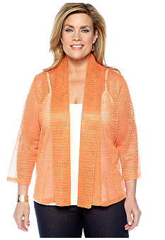 Ruby Rd High Voltage Shawl Collar Plus Size Sequin Cardigan