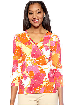 Ruby Rd Petite High Voltage Embellished Surplice Print Top
