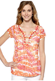 Ruby Rd Petite High Voltage Embellished Tie Dye Burnout
