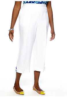 Ruby Rd Plus Size Beyond the Sea Embellished Linen Capri
