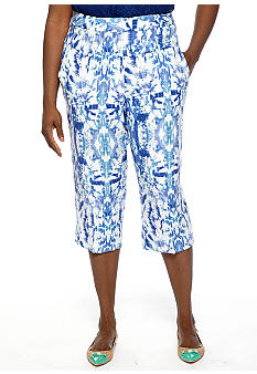 Ruby Rd Plus Size Beyond the Sea Ikat Printed Linen Skimmer