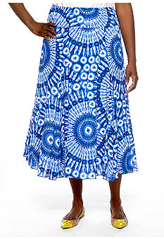Ruby Rd Plus Size Beyond the Sea Printed Long Skirt