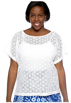 Ruby Rd Plus Size Beyond the Sea Lace Top