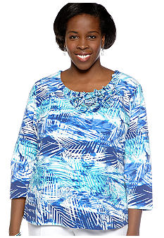 Ruby Rd Plus Size Beyond the Sea Tropical Embellished Knit Top