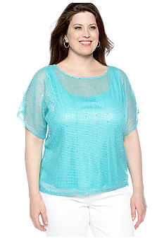Ruby Rd Plus Size Beyond The Sea Foiled Mesh Knit Top