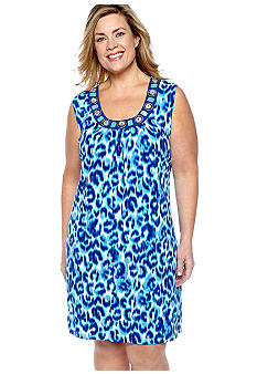 Ruby Rd Plus Size Beyond the Sea Leopard Printed ITY Dress