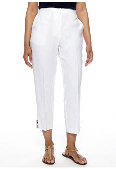Ruby Rd Petite Beyond the Sea Linen Capri with Beaded Detail