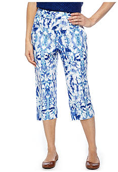 Ruby Rd Petite Beyond the Sea Ikat Linen Skimmer Capri