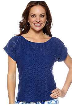 Ruby Rd Petite Beyond the Sea Circle Lace Top