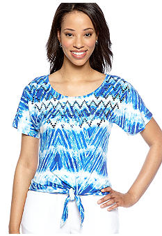 Ruby Rd Petite Beyond the Sea Zig Zag Embellished Tie Top