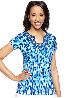 Ruby Rd Petite Beyond the Sea Embellished Neckline Top