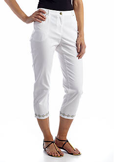 Ruby Rd Sunset Island Embroidered Hem Capri