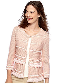 Ruby Rd Petite Key Item Ruffle Embellished Cardigan