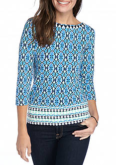 Ruby Rd Pet Knit Must Haves Trellis Border Print Knit Top
