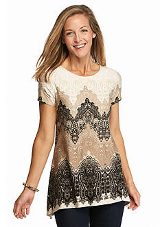 Ruby Rd Must Haves Chevron Paisley Knit Top