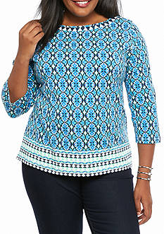 Ruby Rd Plus Size Must Haves Embellished Printed Top