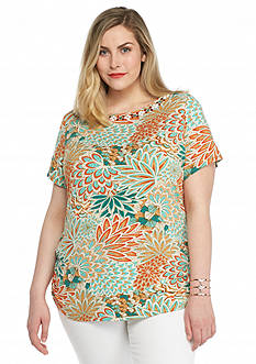 Ruby Rd Plus Size Must Haves Feather Patchwork Print Embellished Tee