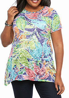 Ruby Rd Plus Size Must Haves Floral Burnout Tee