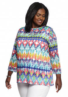 Ruby Rd Plus Size Must Haves Printed Sheer Striped Top
