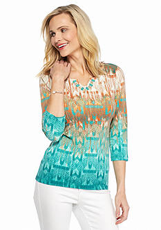 Ruby Rd Petite Must Haves Embellished Printed Knit Top