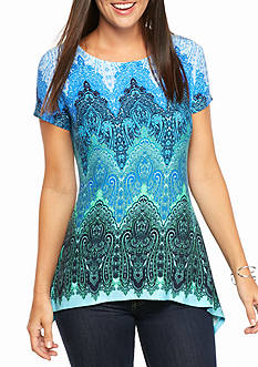 Ruby Rd Petite Must Haves Paisley Sharkbite Top