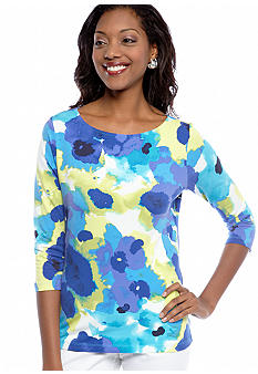 Ruby Rd Favorite Ballet Neck Floral Printed Knit Top