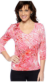 Ruby Rd Favorite V-Neck Cursive Harmony Print Knit Top