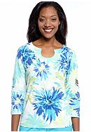 Ruby Rd Favorite Open Key Hole Zesty Floral Print Knit Top