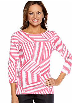 Ruby Rd Favorite Boat Neck Stripe Patchwork Knit Top
