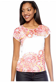 Ruby Rd Favorite Kaleidoscope Printed Burnout Top