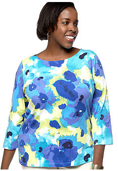 Ruby Rd Plus Size Must Have Ballet Neck Watercolor Floral Knit Top