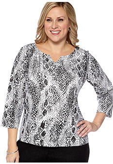 Ruby Rd Plus Size Must Have Snakeskin Print Knit Top