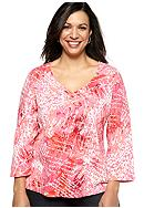 Ruby Rd Plus Size Must Have Cursive Harmony Printed Knit Top