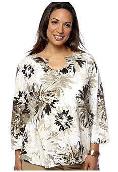 Ruby Rd Plus Size Must Have Open Keyhole Floral Knit Top