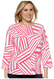 Ruby Rd Plus Size Must Haves Stripe Patch Boatneck Top