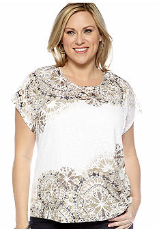 Ruby Rd Plus Size Must Haves Kaleidoscope Burnout Knit Top