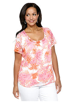Ruby Rd Plus Size Favorite Tie Dye Burnout 2fer Knit Top