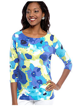 Ruby Rd Petite Favorite Ballet Neck Floral Printed Knit Top