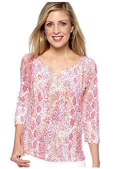 Ruby Rd Petite Must Have V-Neck Snakeskin Print Knit Top