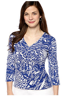 Ruby Rd Petite Must Have Medley Script Printed Surplice Top
