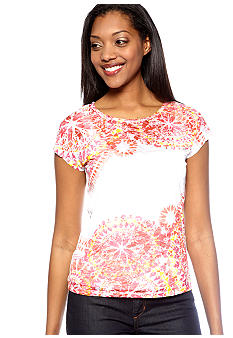 Ruby Rd Petite Favorite Kaleidoscope Printed Burnout Top