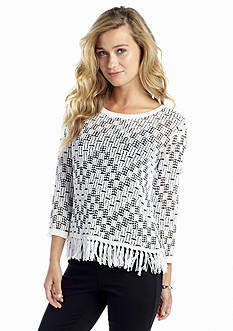 Ruby Rd Machu Picchu Fringe Hem Sweater