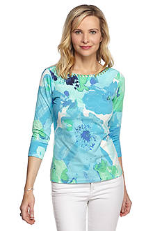 Ruby Rd Must Haves Embellished Blossom Print Knit Top